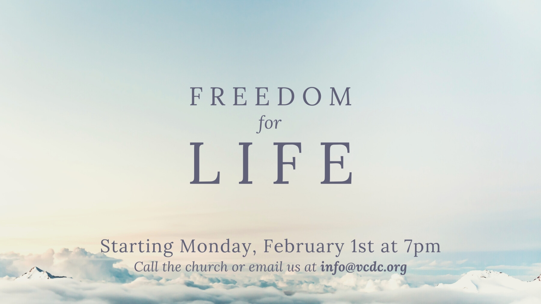 Freedom for Life - Mondays Feb. 1st-March 29th