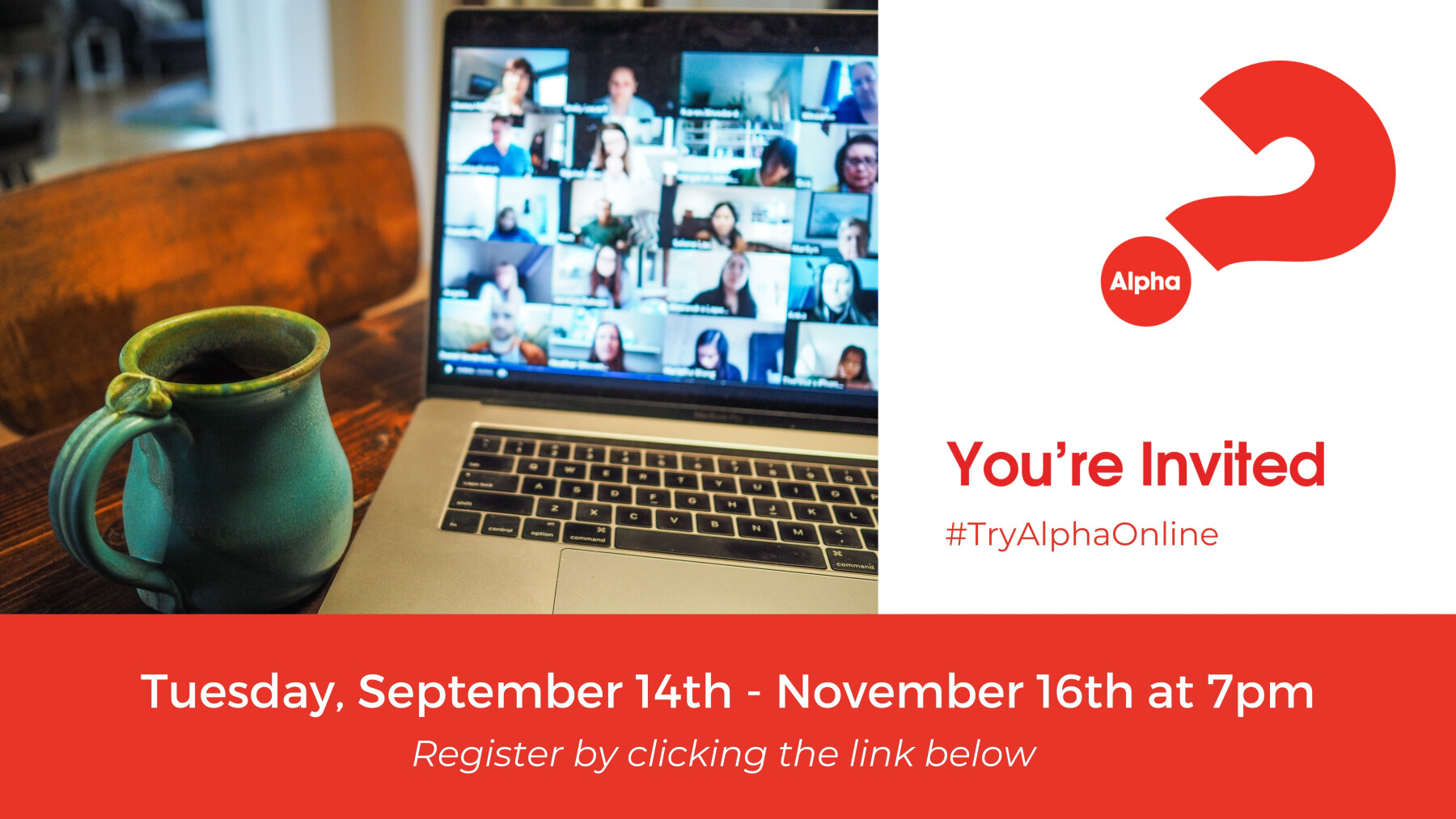 Alpha Online - starts on Zoom Tuesday, September 14th at 7pm